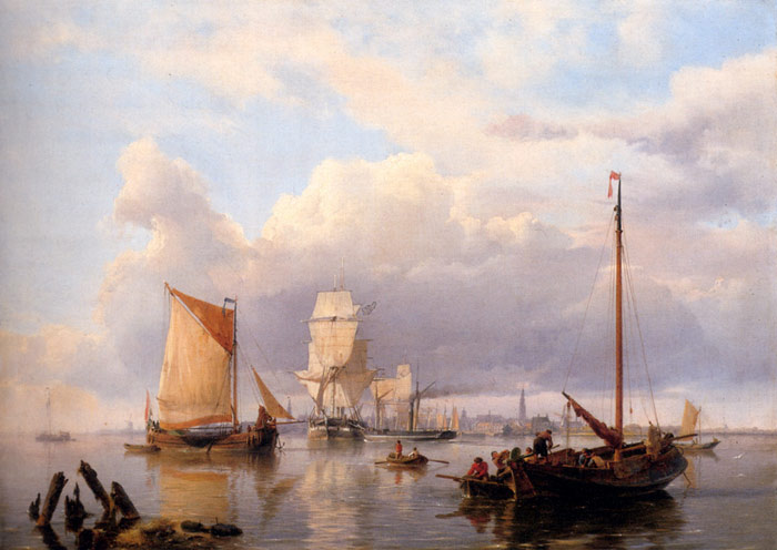 Shipping On The Scheldt With Antwerp In The Background, 1851  Painting Reproductions