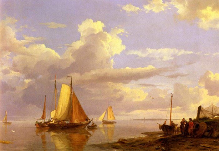 Fishing Boats Off The Coast At Dusk, 1852  Painting Reproductions