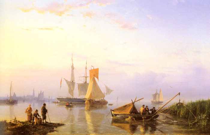 Shipping in a Calm, Amsterdam, 1856  Painting Reproductions