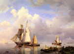 Koekkoek Snr, Hermanus Vessels at Anchor in an Estuary with Fisherman hauling up their rowing boat in the Foreground, 1857 Art Reproductions