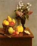 Fantin-Latour, Ignace-Henri- Theodore Still Life With Flowers And Fruit Art Reproductions