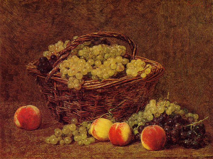 Basket of White Grapes and Peaches, 1895  Painting Reproductions