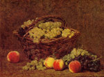 Fantin-Latour, Ignace-Henri- Theodore Basket of White Grapes and Peaches, 1895 Art Reproductions