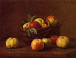Fantin-Latour, Ignace-Henri- Theodore Apples in a Basket on a Table, , 1888 Art Reproductions