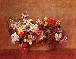 Fantin-Latour, Ignace-Henri- Theodore Flowers in a Bowl, 1886 Art Reproductions