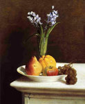 Fantin-Latour, Ignace-Henri- Theodore Still Life, Hyacinths and Fruit, 1865 Art Reproductions