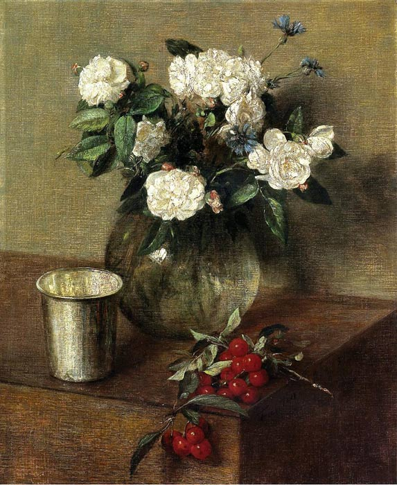 White Roses and Cherries, 1865  Painting Reproductions