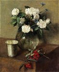 0 White Roses and Cherries, 1865 Art Reproductions