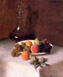 2587 A Carafe of Wine and Plate of Fruit on a White Tablecloth, 1865 Art Reproductions
