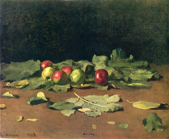 Apples and Leaves, 1879 Repin, Iliya Efimovich Painting Reproductions
