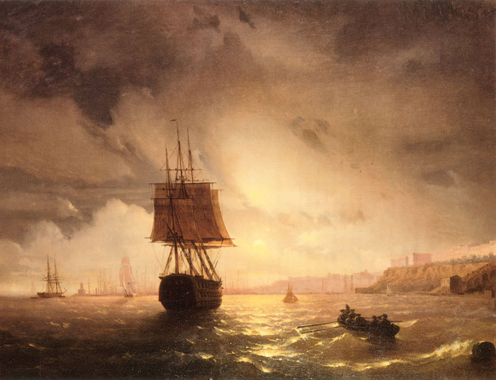 The Harbor At Odessa On The Black Sea, 1852 Aivazovsky,  Ivan Constantinovich Painting Reproductions