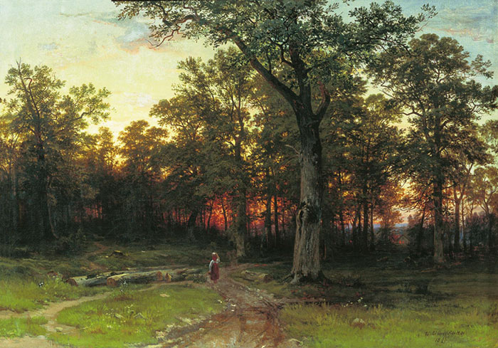 Evening in the Forest. 1869  Painting Reproductions