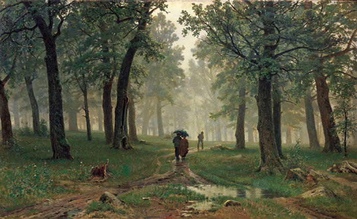 Rain in the Oak Grove. 1891  Painting Reproductions