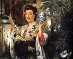 Tissot, James Jacques Joseph Young Lady Holding Japanese Objects, 1865 Art Reproductions