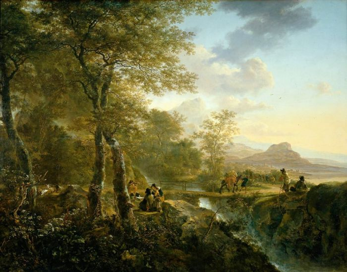 Italian Landscape with Artist, 1650  Painting Reproductions