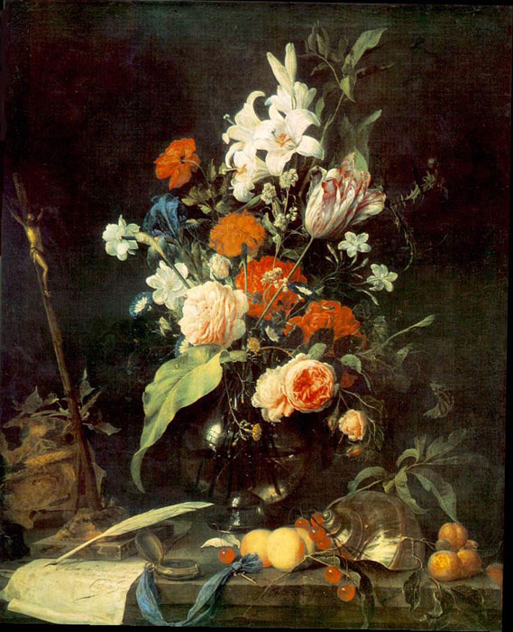 Flower Still-life with Crucifix and Skull, 1630 Heem, Jan Davisz de Painting Reproductions