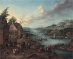 1267 A River Landscape with Boats and a Departing coach, 1745 Art Reproductions