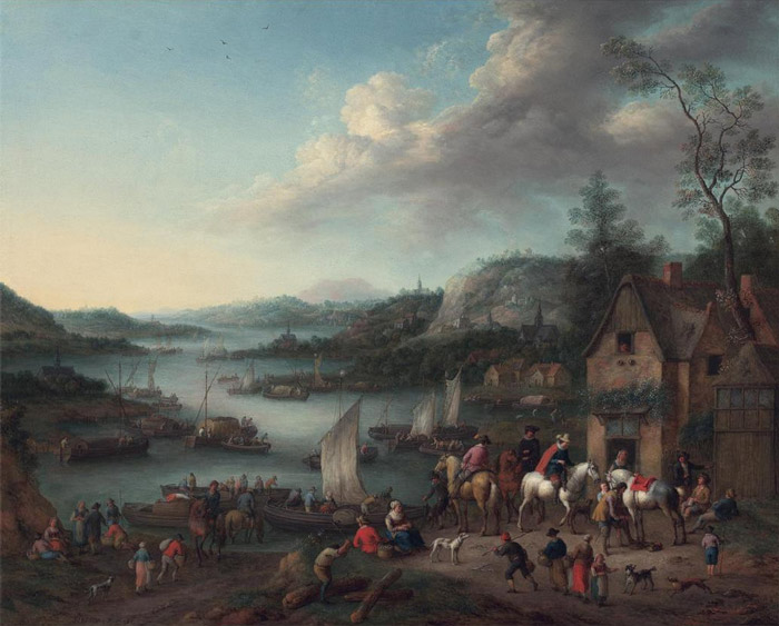 A River Landscape with Boats and Riders halted at an Inn, 1745  Painting Reproductions