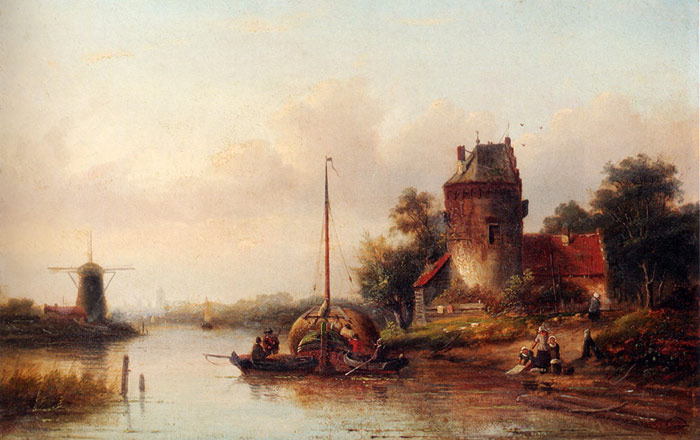 A River Landscape In Summer With A Moored Haybarge By A Fortified Farmhouse  Painting Reproductions