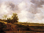Goyen, Jan van A rural landscape with peasants and a drover by a track, a village beyond Art Reproductions