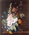Huysum, Jan van Hollyhocks and Other Flowers in a Vase, 1710 Art Reproductions