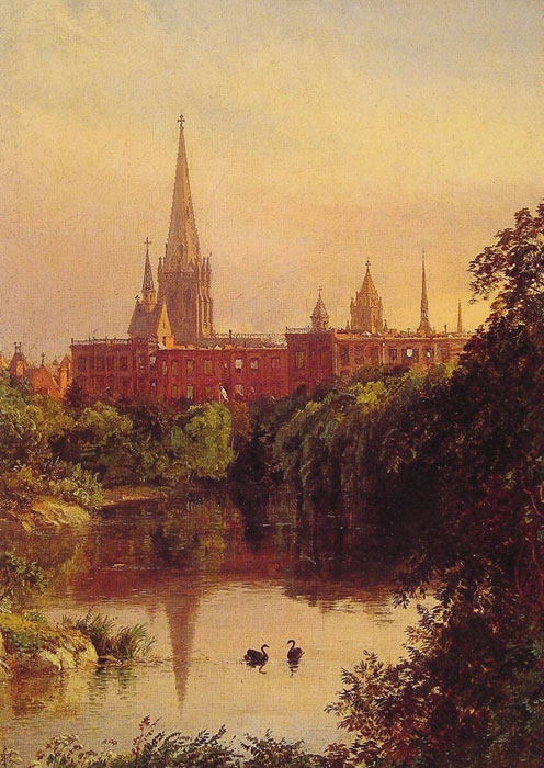 A View in Central Park - The Spire of Dr. Hall's Church in the Distance, 1880  Painting Reproductions