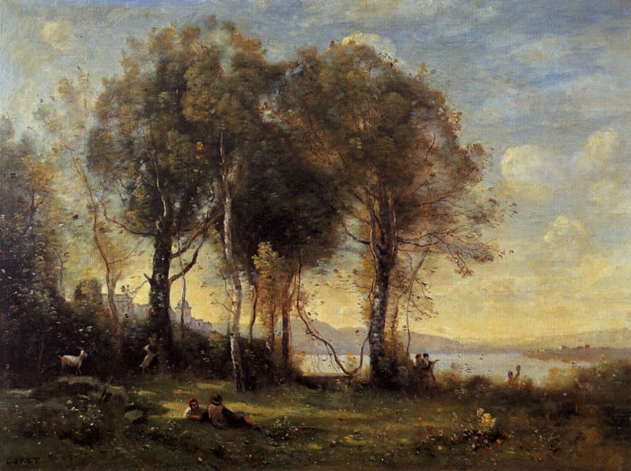 Goatherds on the Borromean Islands, c.1866 Corot, Jean-Baptiste -Camille Painting Reproductions