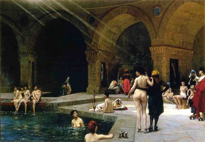 The Grand Bath at Bursa , 1885	 Gerome, Jean-Leon Painting Reproductions
