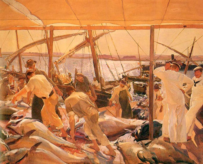 La pesca del atun - Ayamonte [The Tuna Catch - Ayamonte], 1919  Painting Reproductions