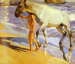 Sorolla y Bastida, Joaquin El bano del Caballo [The Horse's Bath], 1909 Art Reproductions
