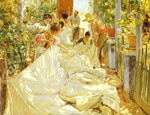 Sorolla y Bastida, Joaquin Cosiendo la vela [Sewing the Sail], 1896 Art Reproductions