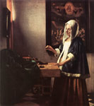 Vermeer, Johannes Woman Holding a Balance, 1662-1663 Art Reproductions