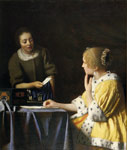 Vermeer, Johannes Mistress and Maid, 1670 Art Reproductions