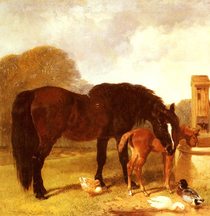 Horse and Foal watering at a trough, 1854  Painting Reproductions