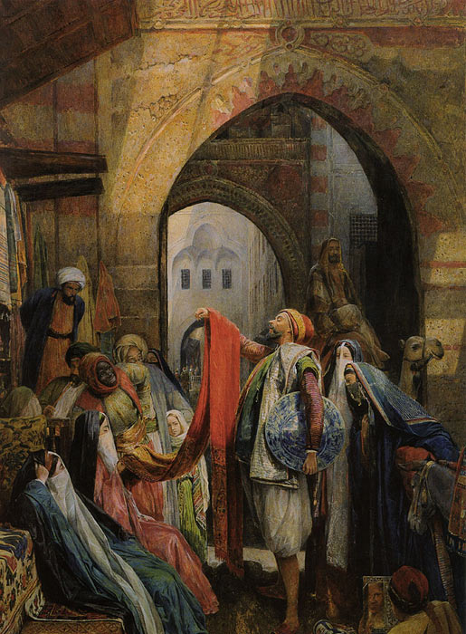A Cairo Bazaar - The Della 'l', 1875 Lewis, John Frederick Painting Reproductions