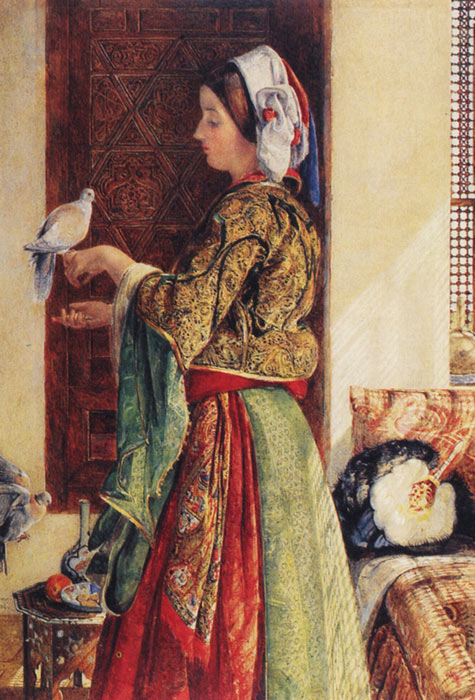 Girl with Two Caged Doves  Painting Reproductions