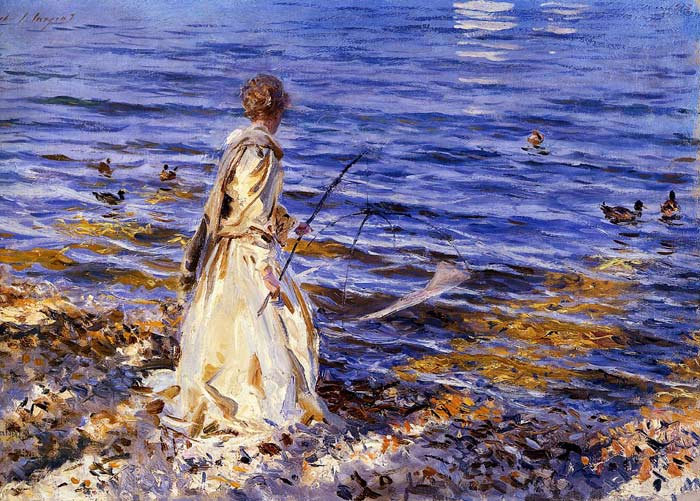 Girl Fishing , 1913	  Painting Reproductions
