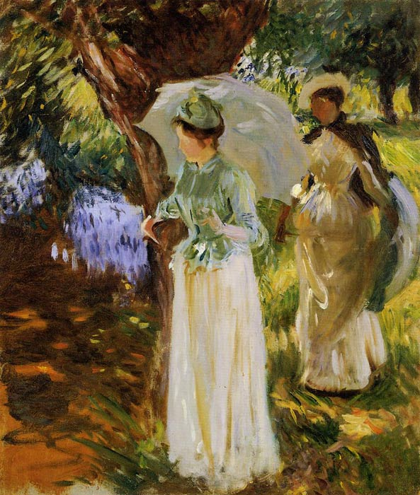 Two Girls with Parasols at Fladbury, 1889	  Painting Reproductions
