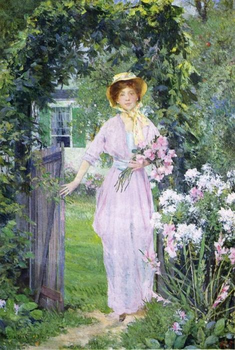 Young Woman in the Garden  Painting Reproductions