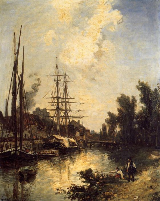 Boats Dockside, 1855  Painting Reproductions