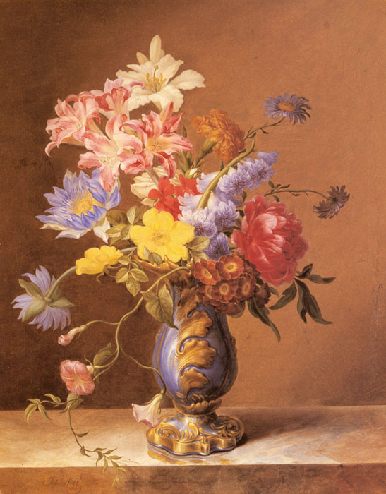 Oil Painting Reproduction & Flowers In A Blue Vase