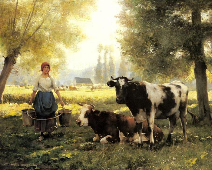 A Milkmaid with her Cows on a Summer Day  Painting Reproductions