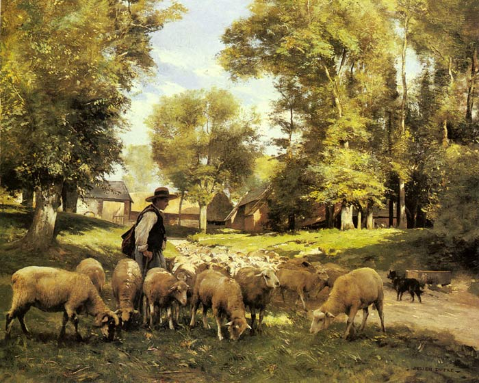 A Shepherd and his Flock  Painting Reproductions