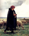 Dupre, Julien A Shepherdess With Her Flock Art Reproductions