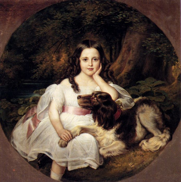 A Young Girl Resting In A Landscape With Her Dog  Painting Reproductions