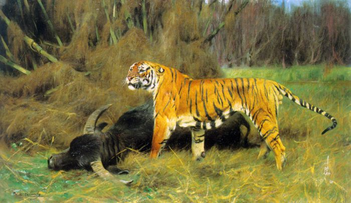 A Tiger with its Prey , 1908  Painting Reproductions