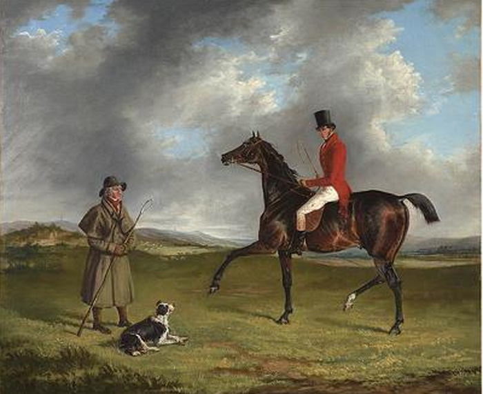 A sportsman thrown out, enquiring of a shepherd, 1830  Painting Reproductions