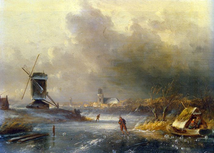 Winter Landscape with Skaters on a Frozen River  Painting Reproductions