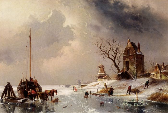 Figures Loading A Horse-Drawn Cart On The Ice, 1878  Painting Reproductions