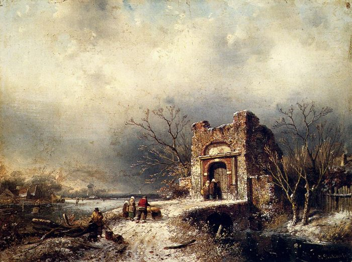 Villagers On A Frozen Path, 1859  Painting Reproductions